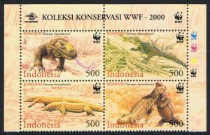 Indonesia WWF Komodo Dragon 4v Block of 4 with WWF Logo SG#2620-2623