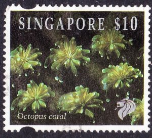 SINGAPORE 1994 QEII $10 Multicoloured 'Octopus Coral' SG753j FU