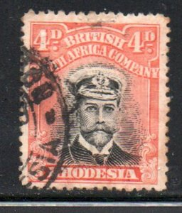 Rhodesia Sc 125 1913 4d orange red & black George V  stamp used