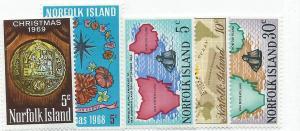 Norfolk Islands  #121-125  (MLH)  CV $1.90
