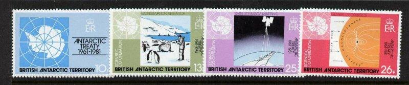 British Antarctic Territory 82-5 MNH Antarctic Treaty, Map, Penguin, Satellite