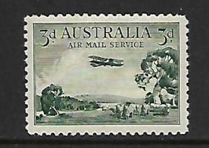 AUSTRALIA C1 MINT HINGED  AIRPLANE OVER BUSH LAND 1929