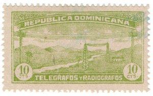(I.B) Dominican Republic Telegraphs : 10c Yellow-Green (1920)