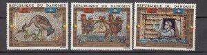 J28141 1972 dahomey set mnh #c159-61 art unesco