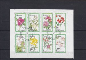 Republic of Equatorial Guinea Used Various Flowers Stamps Sheet Ref 25092