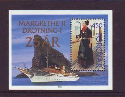 Faroe Islands Sc 312 1997 25th Anniv Margethe stamp sheet mint NH