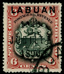 LABUAN SG87, 6c black & brown-lake, FINE USED. Cat £35.