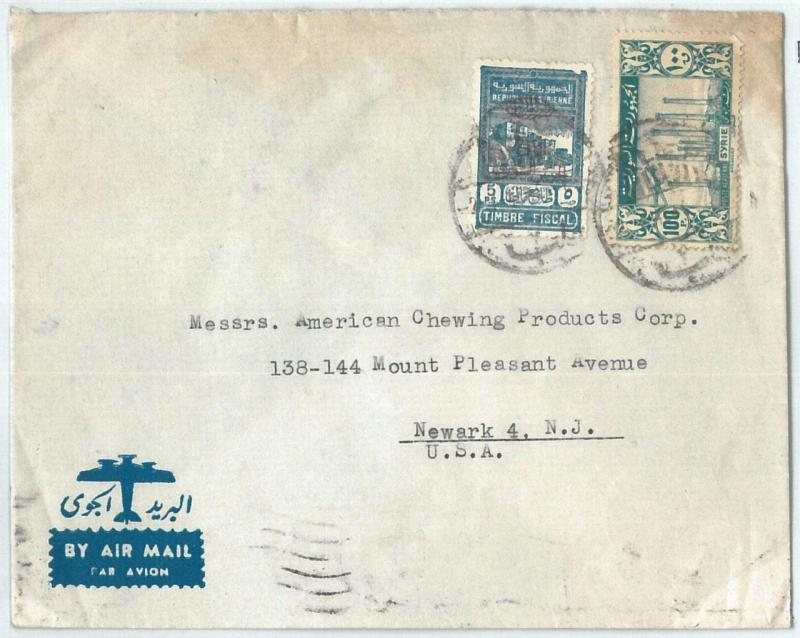 71146 - SYRIA - POSTAL HISTORY -  COVER  to  the United States 1946 - REVENUE