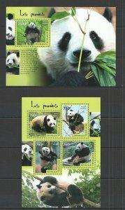 TG408 2014 TOGO FAUNA ANIMALS BEARS PANDAS KB+BL MNH