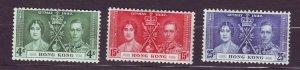 J23665 JLstamps 1937 hong kong set  mh #151-3 coronation