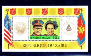 ZAIRE #968  1980  SALVATION ARMY  MINT  VF NH  O.G  S/S  CTO  b