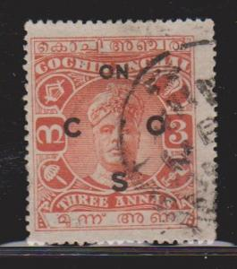 COCHIN Scott # O33 Used  - Indian State