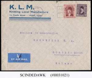 EGYPT - 1937 AIR MAIL ENVELOPE TO SWITZERLAND WITH STAMPS