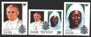 Kinshasa. 1986. 928-30. Pope Paul 2. MNH.
