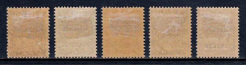 LEBANON — SCOTT J1-J5 — 1924 SURCHARGED POSTAGE DUES SET — MH — SCV $33
