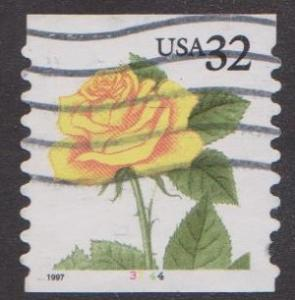 US #3054 Yellow Rose Used PNC Single plate #3344