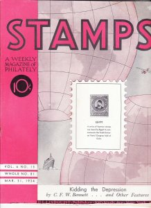 Stamps Weekly Magazine of Philately March 31, 1934 Stamp Collecting Magazine