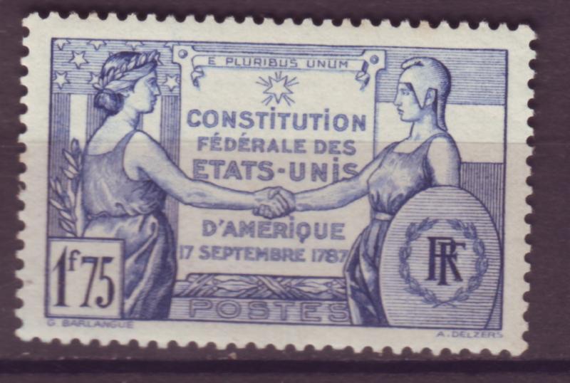 J15191 JLstamps 1937 franceset of 1 mh #322 france/usa