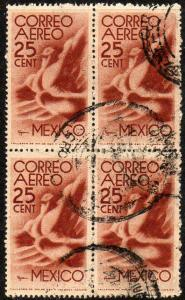 MEXICO C141, 25c 1934 Definitive Issue Blk of 4 Used (445)
