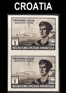 Croatia Scott B33 IMPERFORATED COLOR PROOF TRIAL VF mint OG H pair.