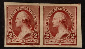 US #219D on stamp paper, IMPERF PAIR, VF mint  hinged, deep rich Lake color, ...