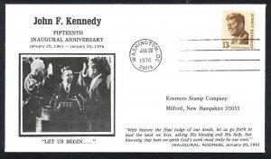 U.S.A. John F. Kennedy 15th Inaugural Anniversary (1976) Commemorative Cover