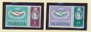 St. Lucia Scott #199 To 200, Two Stamp International Cooperation Year
