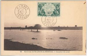SENEGAL -  POSTAL HISTORY:  COLONIAL EXPO stamp on POSTCARD: BAMBEY 1934