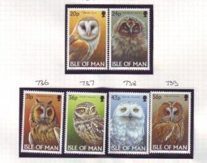 Isle of Man Sc 727-32 1997 Owls stamp set mint NH