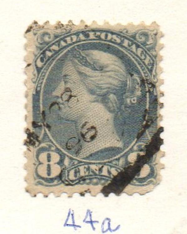 Canada Sc 44a 1893 8c blue gray small Queen Victoria stamp used