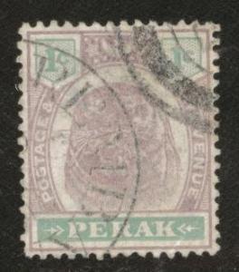 MALAYA Perak Scott 47 used 1899-99 Tiger stamp