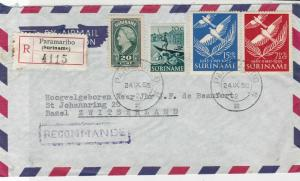 Suriname 1956 Paramaribo Registered Stamps Cover  ref 22337