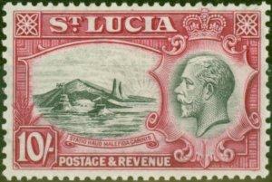St Lucia 1936 10s Black & Carmine SG124 Fine & Fresh Lightly Mtd Mint