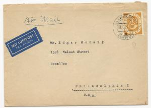 Germany Scott #683 on Air Mail Cover Hamburg October 31, 1953