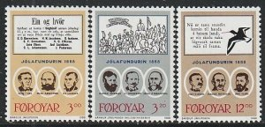 1988 Faroe Islands - Sc 179-81 - MNH VF - 3 single - 1888 culture meeting