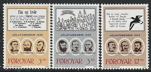 1988 Faroe Islands - Sc 179-81 - MNH VF - 3 single - 1888 culture meeting