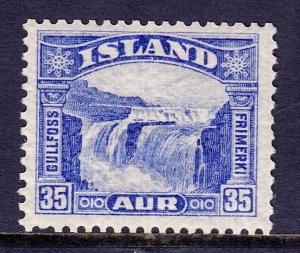 ICELAND — SCOTT 172 — 1931 35a GULLFOSS WATERFALL ISSUE — MH —SCV $25.00