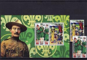 Djibouti 2004 Scouts/1st.Baron Baden-Powell Set (2) + 1 S/S Perforated MNH VF