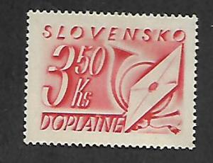 SLOVAKIA J34 MNH NUMERAL LETTER AND POST HORN
