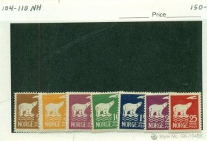 NORWAY #104-110, Mint Never Hinged, Scott $150.00