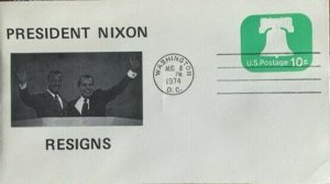 President Nixon Resigns 8-8-1974 Shown with VP Agnew who also resigns