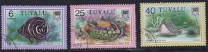 Tuvalu # 100, 105, 108, Marine Life - Fish, Used,  1/3 Cat.