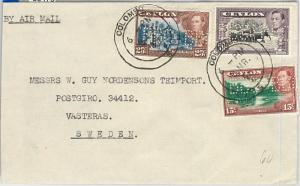59476 - CEYLON - POSTAL HISTORY: PERFIN stamps BBC on COVER to SWEDEN  1949