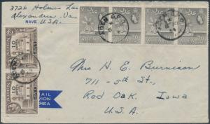 ADEN #37(2) & #54(4) ON AIRMAIL COVER TO RED OAK, IOWA BS1226