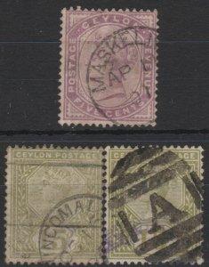h016) Ceylon. 1886. Used.  SG 195/96/97  Wmk. Crown CA. P 14  Royalty.