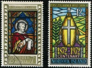 Norfolk Island SC# 150-1 Chriatmas & Pitcairner Church Centenary used