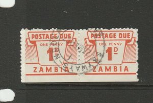 Zambia 1964 Dues 1d pair Used SG D11