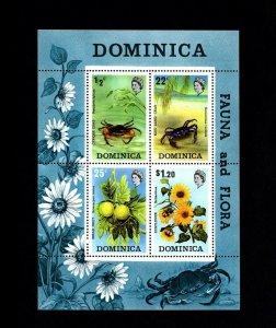 DOMINICA - 1973 - CRABS - CYRIQUE - BLUE - BREADFRUIT - SUNFLOWER - MNH S/SHEET!