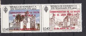 Honduras C724-25 MNH 1983 Pope Visit Attached