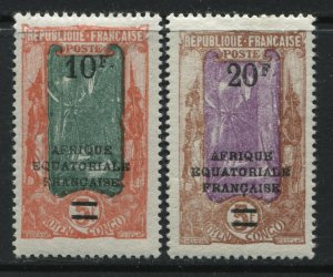 Middle Congo 1927 overprinted 10 and 20 francs mint o.g.